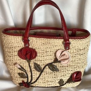 BRIGHTON STRAW Bag w/leather flowers Gently Loved
